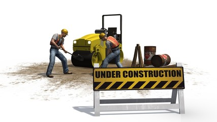 under construction sign construction machine construction worker