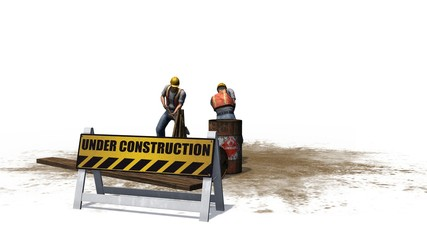 under construction sign with construction workers