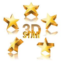 3d golden star set