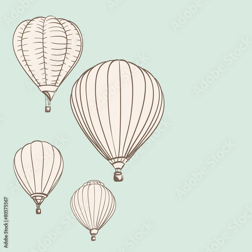 Hot air balloons background drawing stock image and royalty free hot air balloons background drawing malvernweather Image collections