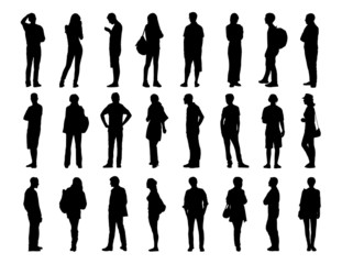 big set of men and women standing silhouettes 2