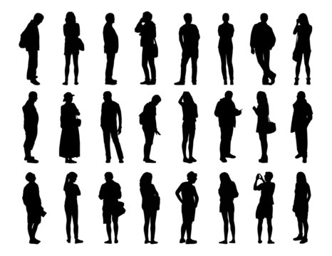 big set of men and women standing silhouettes 1