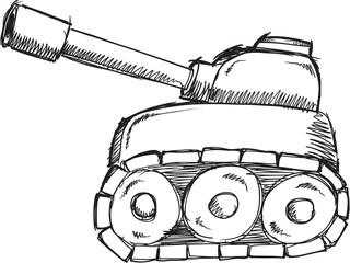 Doodle Sketch Tank Vector Illustration Art