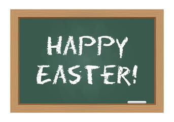 Happy Easter text on chalkboard