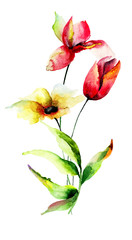 Decorative LIly and Tulips flowers