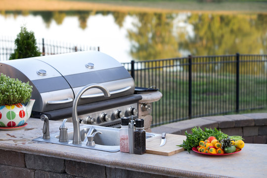 Preparing a healthy meal in an outdoor kitchen