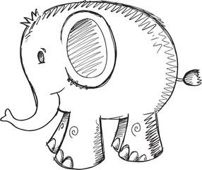 Doodle Sketch Elephant Vector Illustration Art
