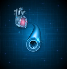 Human artery and heart abstract blue background