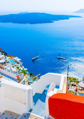 View to the sea and Volcano Fira in Santorini island in Greece