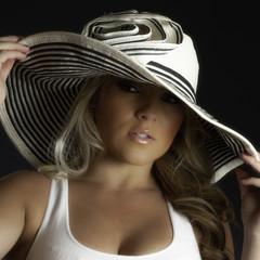Blonde Latina Girl Large White Hat Tank Top