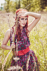 Beautiful hippie girl outdoors in summer