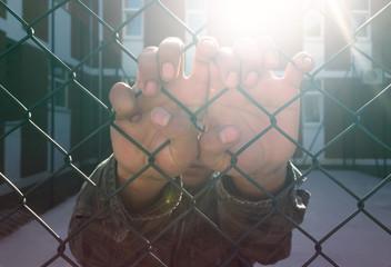Prisoner behind barbed wire