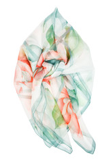 Silk scarf. Blue silk scarf isolated on white background
