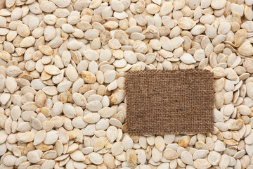 Tag made of burlap lies against the backdrop of pumpkin seeds