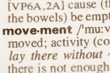 Dictionary definition of word movement