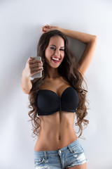 Image of playful busty woman doing selfie