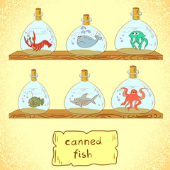 Collection of sea animals. Comic vector illustration.