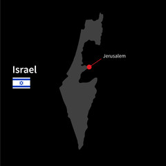 Detailed map of Israel and capital city Jerusalem with flag on