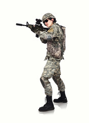 American soldier with rifle