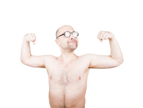 Funny guy in glasses posing