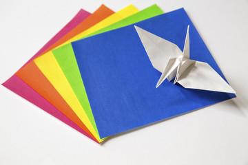 origami crane and origami paper