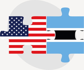 USA and Botswana Flags in puzzle