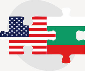 USA and Bulgaria Flags in puzzle