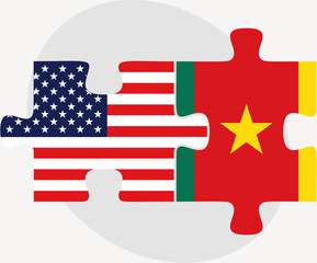 USA and Cameroon Flags in puzzle