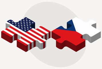 USA and Czech Republic Flags in puzzle