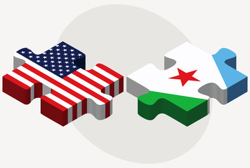 USA and Djibouti Flags in puzzle