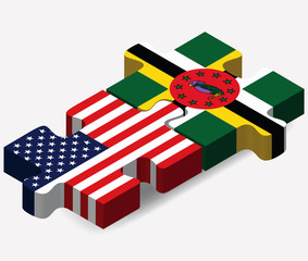 USA and Commonwealth of Dominica Flags in puzzle