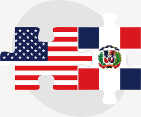 USA and Dominican Republic Flags in puzzle