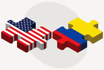 USA and Ecuador Flags in puzzle