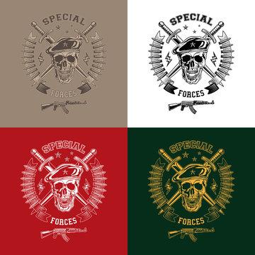 Special forces monochrome emblems