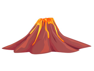 Volcano flowing with hot molten lava vector image