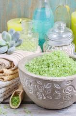 Spa set: green sea salt, scented candles, liquid soap and essent