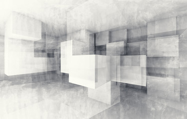 Obraz Chaotic cubes structure. 3d render with texture - fototapety do salonu