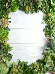 Spring green leaf vegetables.frame