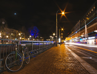 Bicycle in the center at night. Gothenbur, Sweden