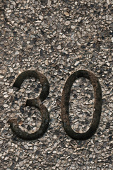 Granite background with number distance