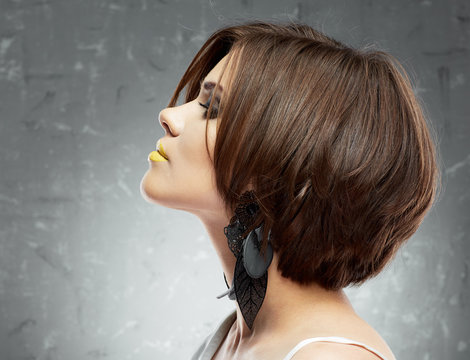 profile face portrait of sexy woman with medium length hair . b