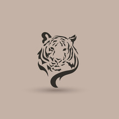 Artistic vector silhouette face tiger. Creative idea.