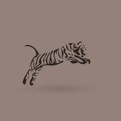 Vector silhouette tiger in jump. Creative idea logotype.