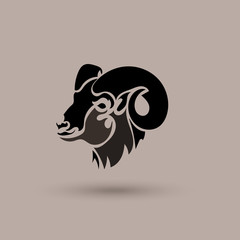 Vector silhouette head wild sheep. Stylized animal logotype.