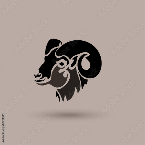 Vector Silhouette Head Wild Sheep Stylized Animal Logotype