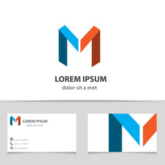 Vector creative logo, letter M with business card.