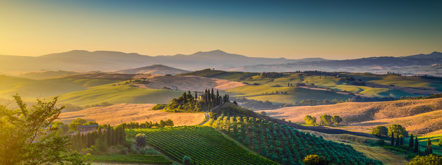 Tuscany landscape panorama at sunrise, Val d'Orcia, Italy Wall mural