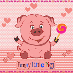 Funny little pig. Vector pattern