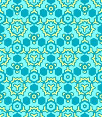 abstract geometric yellow blue seamless pattern.