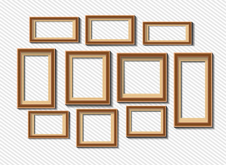 Set of white photo frames on grey background